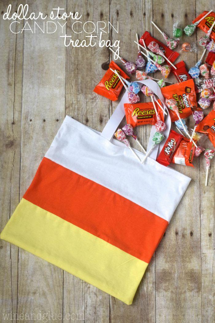 Dollar Store Candy Corn Treat Bag Wine & Glue