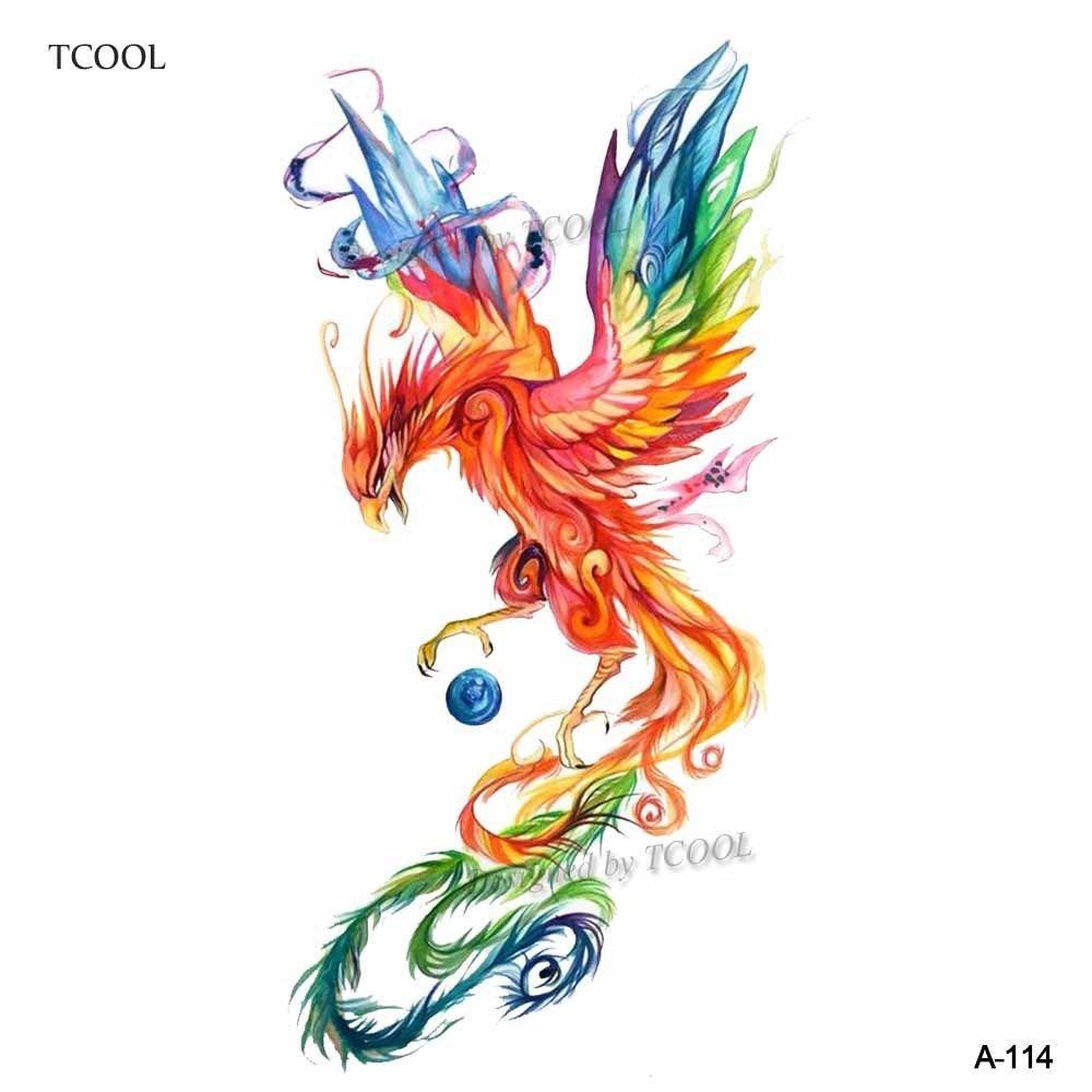 dc7777b70da95 WYUEN Colorful Watercolor Phoenix Animals Temporary Tattoos for Kids ...