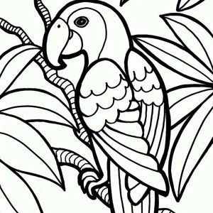parrot coloring page Jungle Parrot Coloring Page 300x300jpg