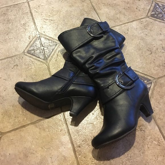 Lucky Top boots Black with zipper, worn very little. Lucky Top Shoes Heeled Boots