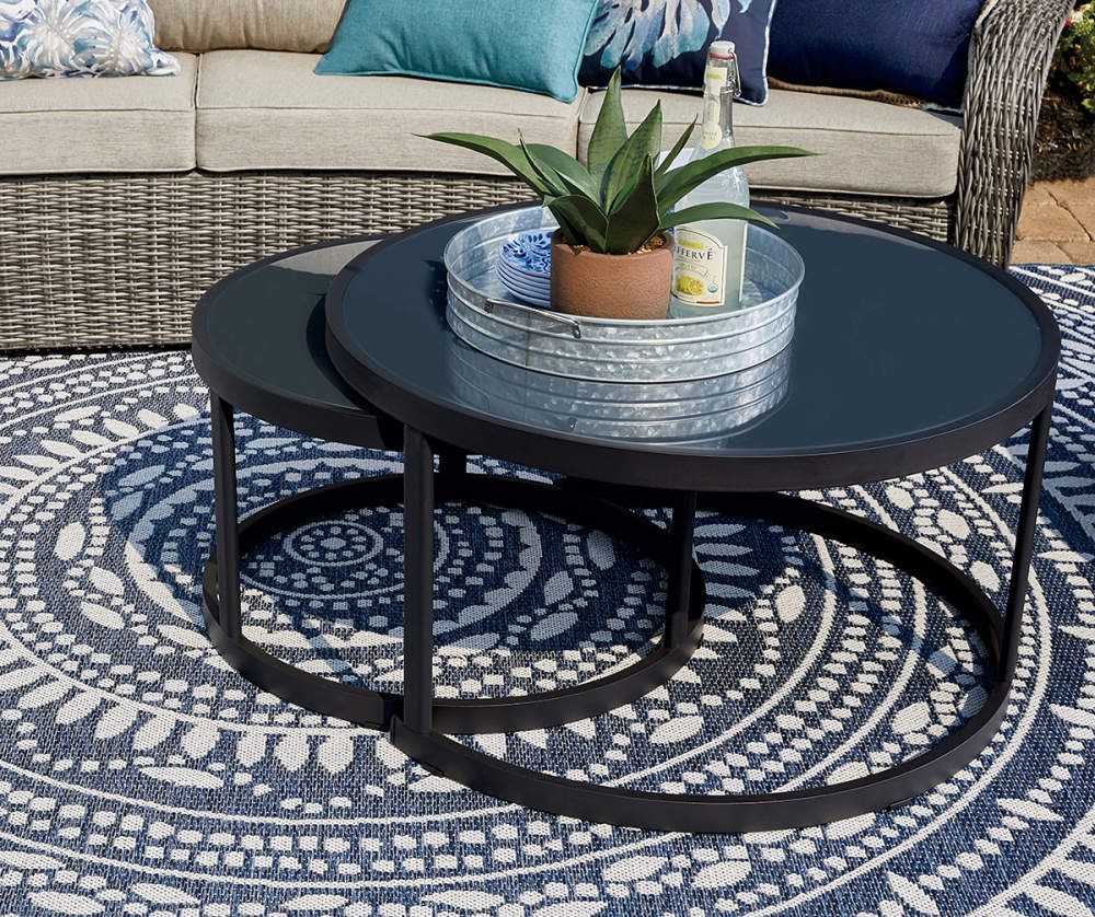 Wilson Fisher Lakewood Double Round Nested Coffee Tables Set Big Lots Coffee Table Coffee Table Setting Patio Rugs [ 838 x 1000 Pixel ]