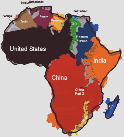 united states inside africa map