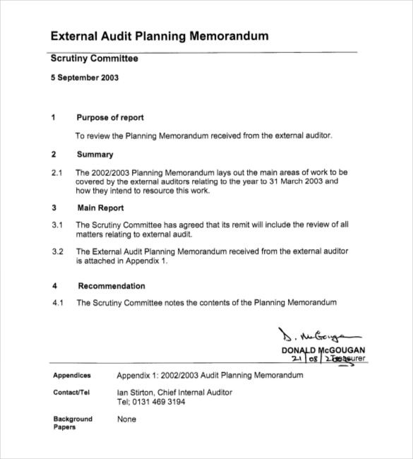 Audit Planning Memorandum Examples  Yahoo Image Search Results