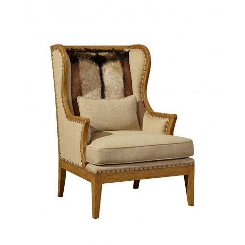 Hair On Hide Leather Amp Linen Wing Chair Chairs Lounge
