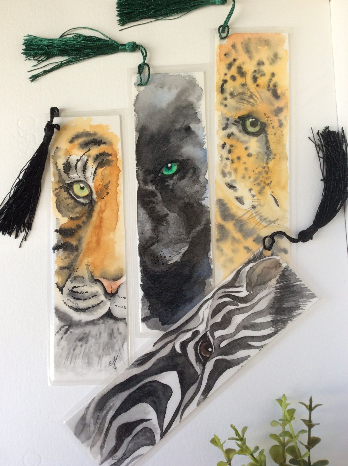 Watercolor bookmarks Watercolor painting Wild life animals Gifts for ...
