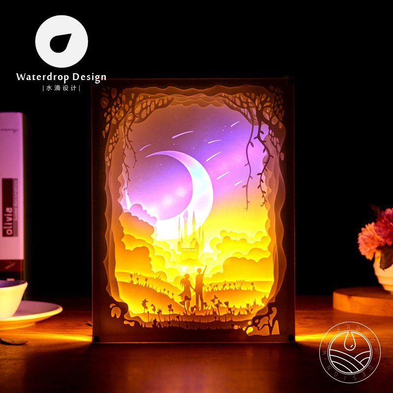 Lighting Paper Carving Lights Starry Night 3d Living Room Bedroom Bedside Decoration Diy Creative Minimalist Modern Wa Paper Carving Shadow Light Box Paper Art