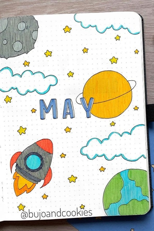 25 Bullet Journal Space & Galaxy Spreads For 2020 - Crazy Laura