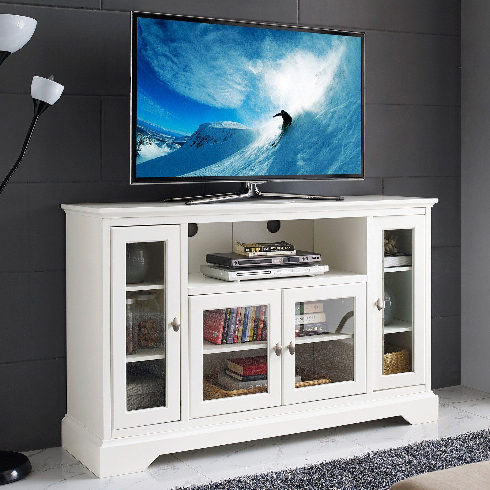 Walker Edison Highboy Style Wood Tv Stand Tv Stand Wood White Tv Stands Highboy Tv Stand