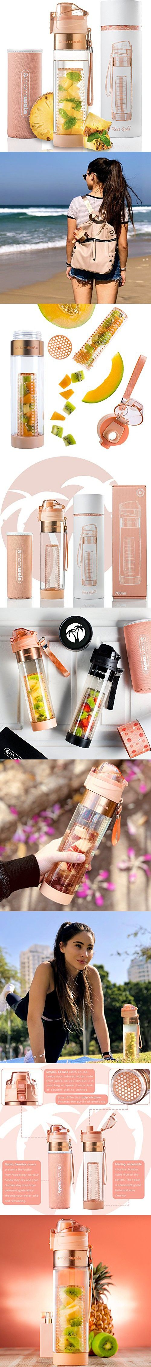 ee94b04ccb MAMI WATA Fruit Infuser Water Bottle – Create Naturally Flavoured Fruit Infused  Water – Unique stylish design, Beautiful Gift Box, Insulated sleeve, ...