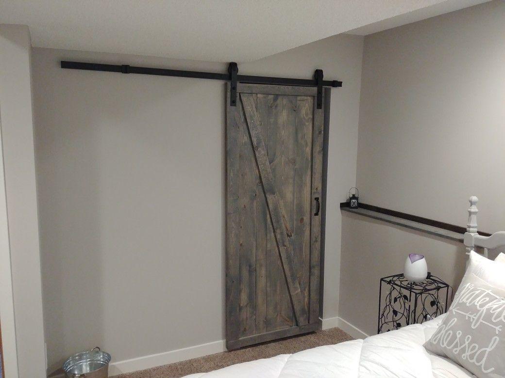rustic stained grey sliding barn door barn door house Rustic Gray Barn Door id=46279