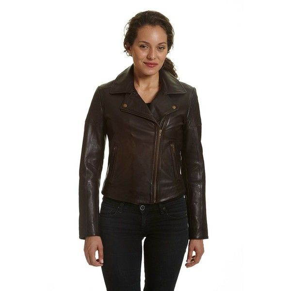 Women's Excelled Asymmetrical Leather Motorcycle Jacket ($315) ❤ liked on  Polyvore featuring outerwear,