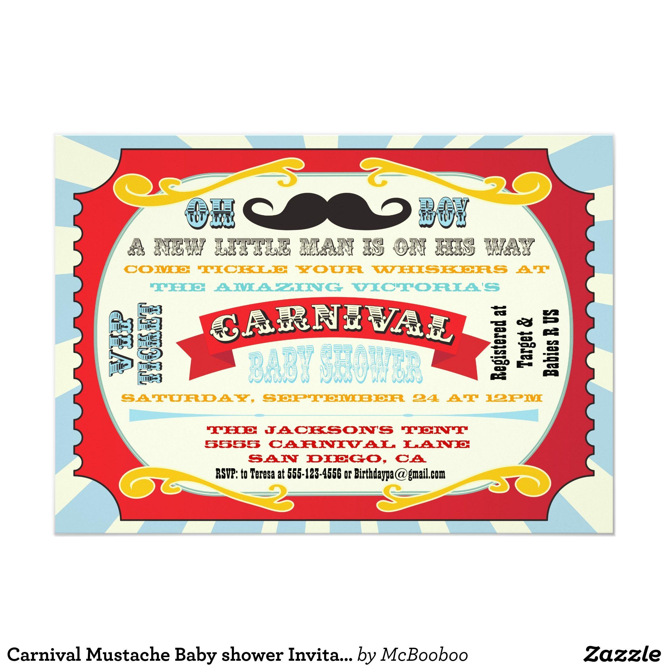 Convite do chá de fraldas do bigode do carnaval