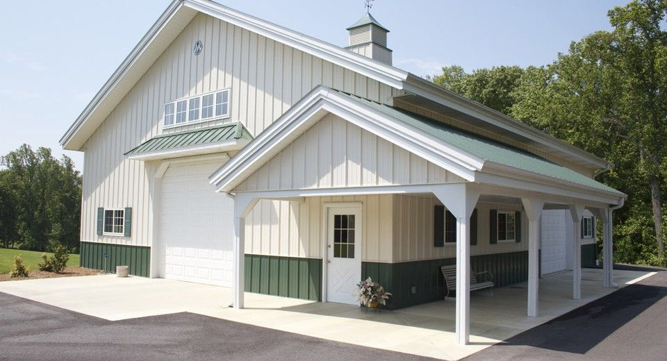This Hobby Building Was Built For Don Of King Nc Special Features Morton S Hi Rib Steel Cupola Porch Wa Pole Barn Homes Barn House Plans Hobby Garage
