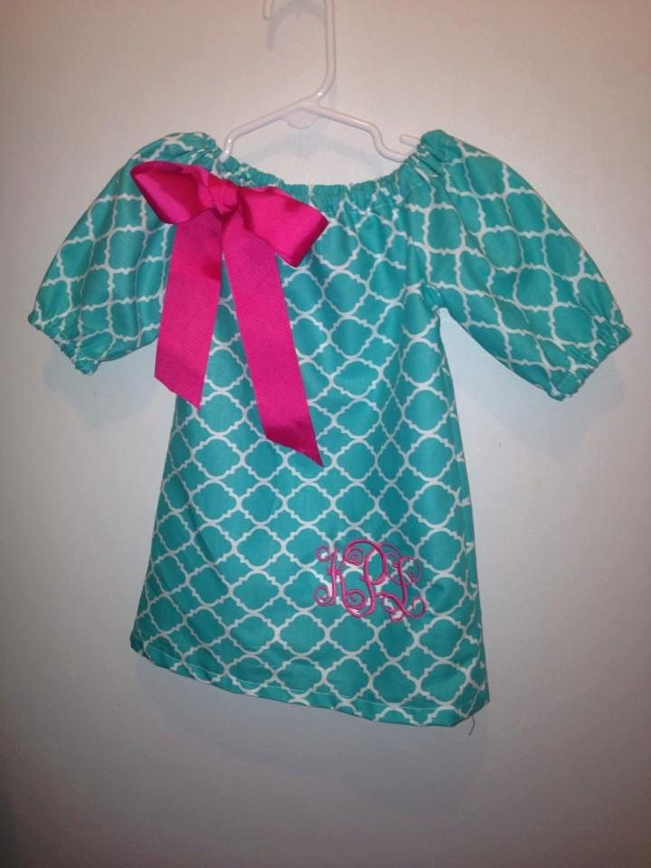 3/4 Teal lattice with Pink Bow and Pink Monogram. Sizes Newborn- Girls 12 by bows2toesmunchkinclo on Etsy