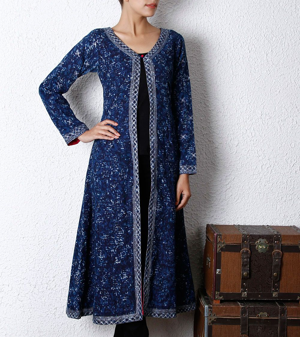 Indigo Cotton Long Jacket Kurta Designs Kurti Jackets Indian Wear