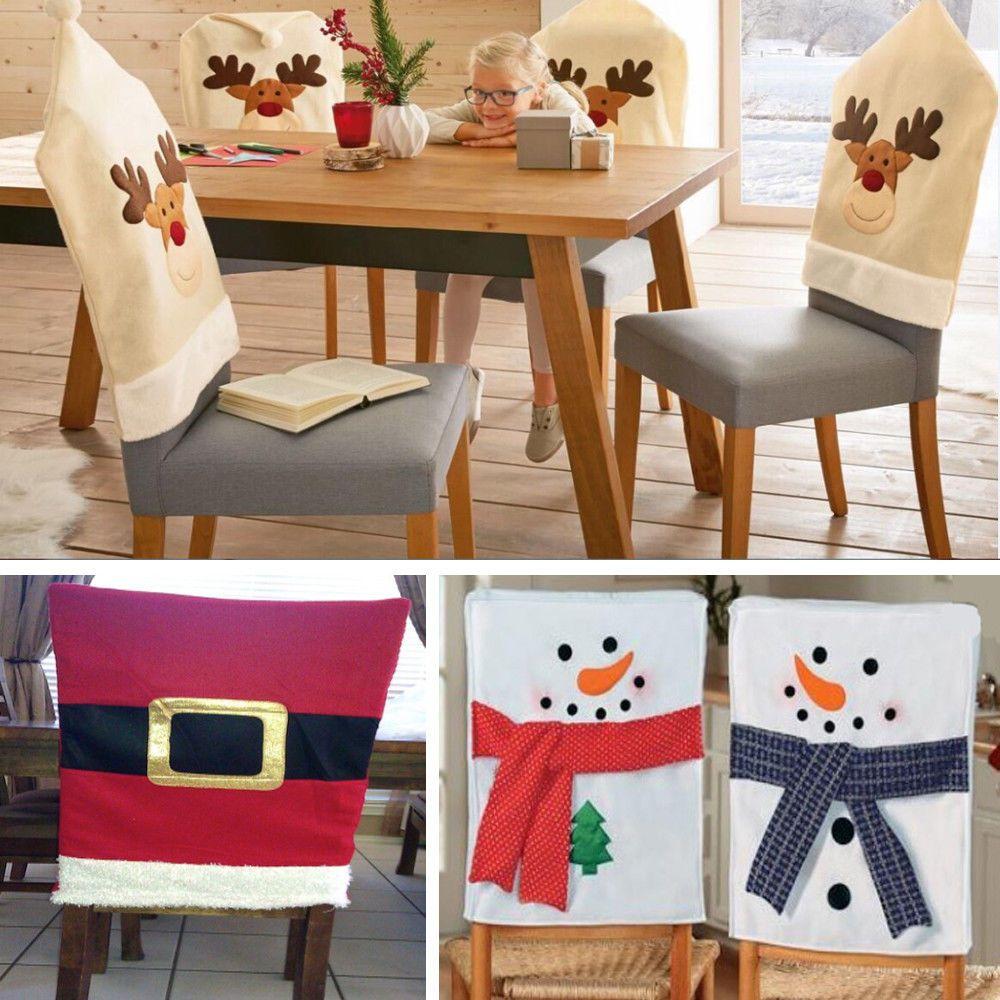 Ebay Uk Christmas Chair Covers Swing Egg B&m 5 99 60x50cm Santa Claus Red Hat Back Cover For Dinner Table Decor Home Garden