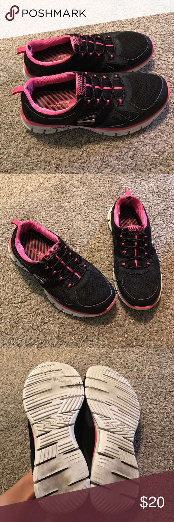 Skechers Size 7.5 Women's Skechers size 7.5. Worn, in fair condition. They have tears at the end as seen in picture, but nothing major! Very nice and comfortable shoes. Will ship same day of purchase! Skechers Shoes Athletic Shoes