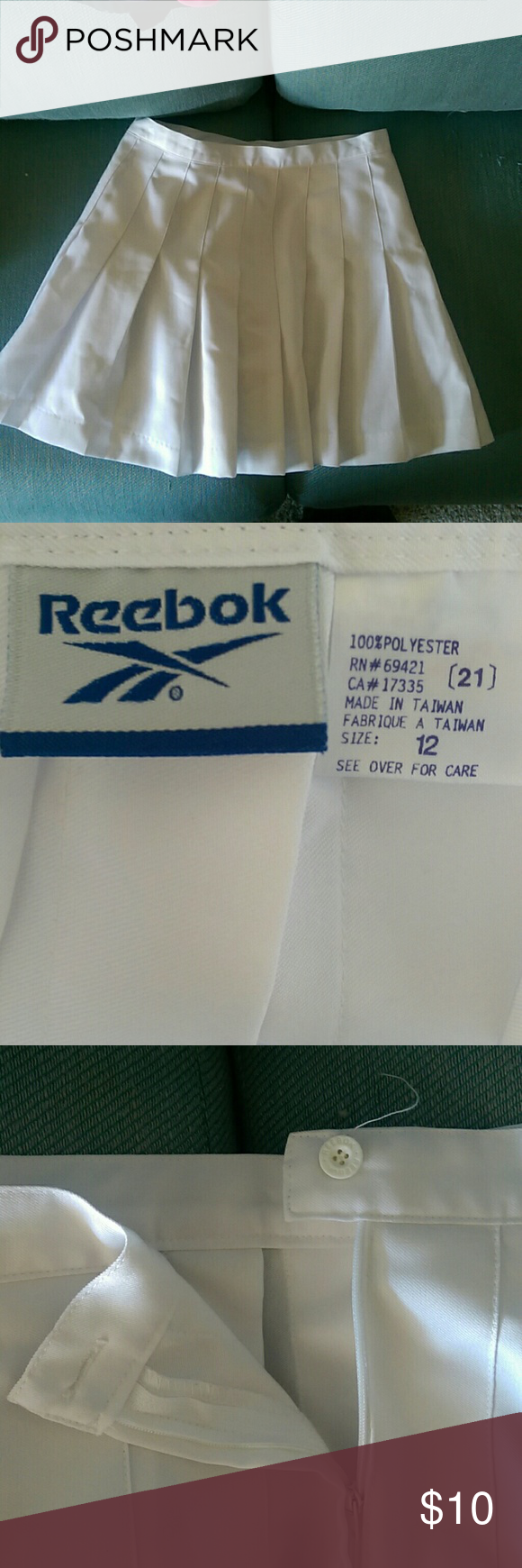 White golf / tennis skirt Super cute pleated tennis or golf skirt by Reebok it's a size 12 in perfect condition it's new but it doesn't have the tags on it Reebok Skirts Mini