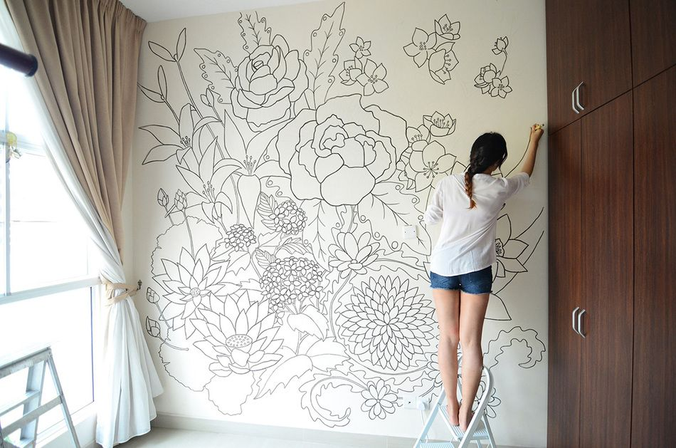 A Sharpie Wall Mural Doodled Entirely With Sharpies Within