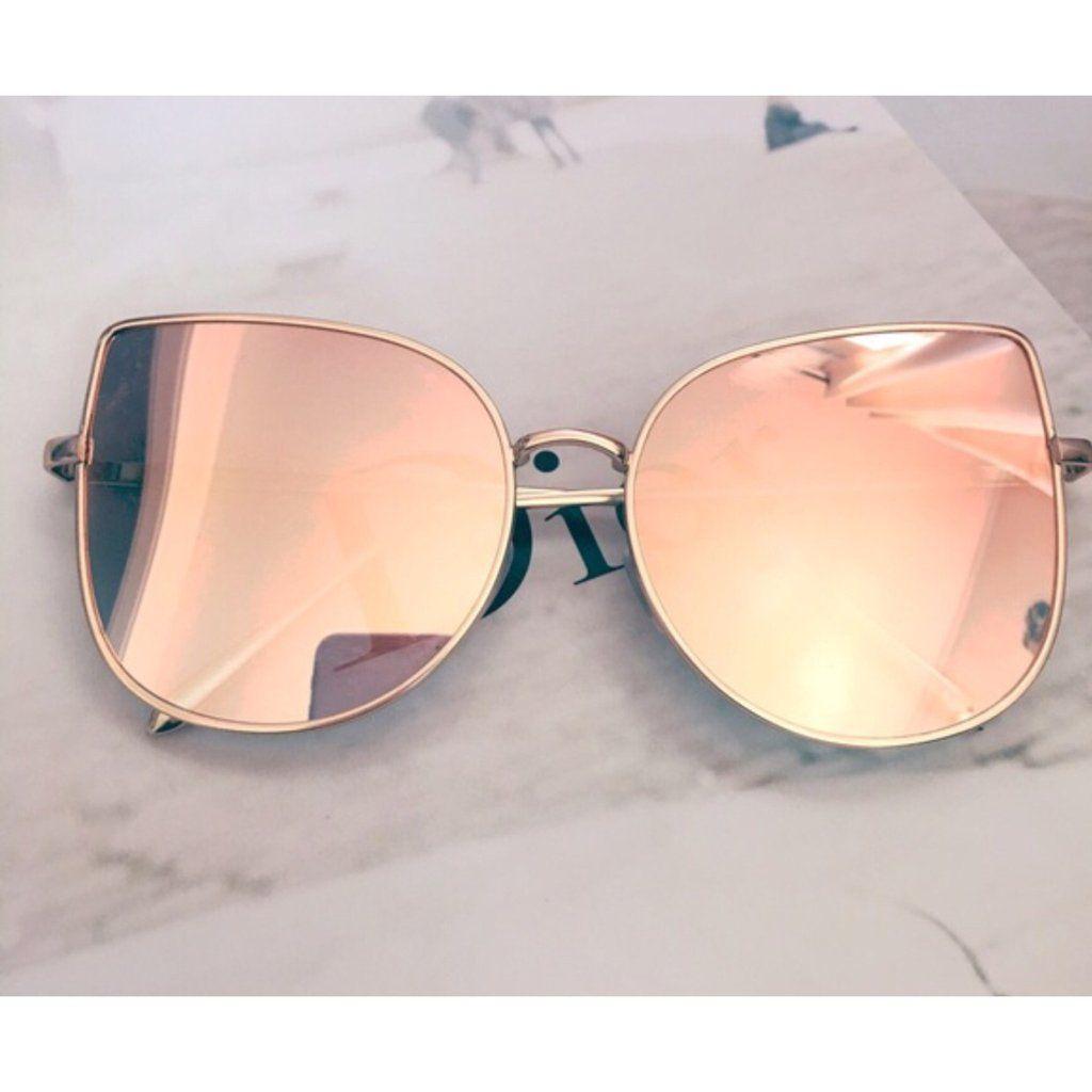 eefa4fb68 Rose gold cat eye aviator sunglasses. Rose gold mirrored sunglasses. Wire  sunglasses. UV Protection. Top quality.
