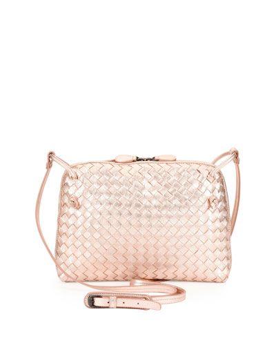 V2zdy Bottega Veneta Small Intrecciato Grosgrain Crossbody Bag Rose Gold