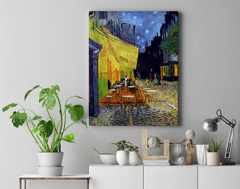 Vincent Van Gogh PrintImpressionist ArtHome DecorCafe | Etsy #poster #cafeterrace #arles #van #gogh #vangogh, #vincent #cafe #tables #chairs #people #shops #shopfront #street #night #buildings #square #french #provence #outdoors #awning