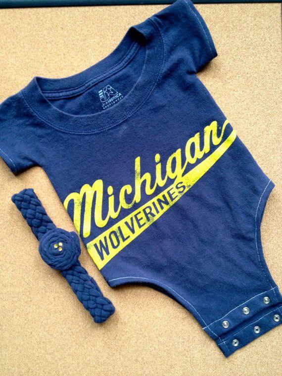 Up Cycled University Of Michigan U Of M T Shirt Onesie With Headband