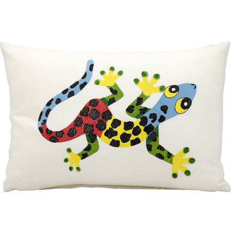 Inspired by Australian aboriginal designs, this eye-catching salamander pillow adds a touch of playful style to your veranda or breakfast nook.