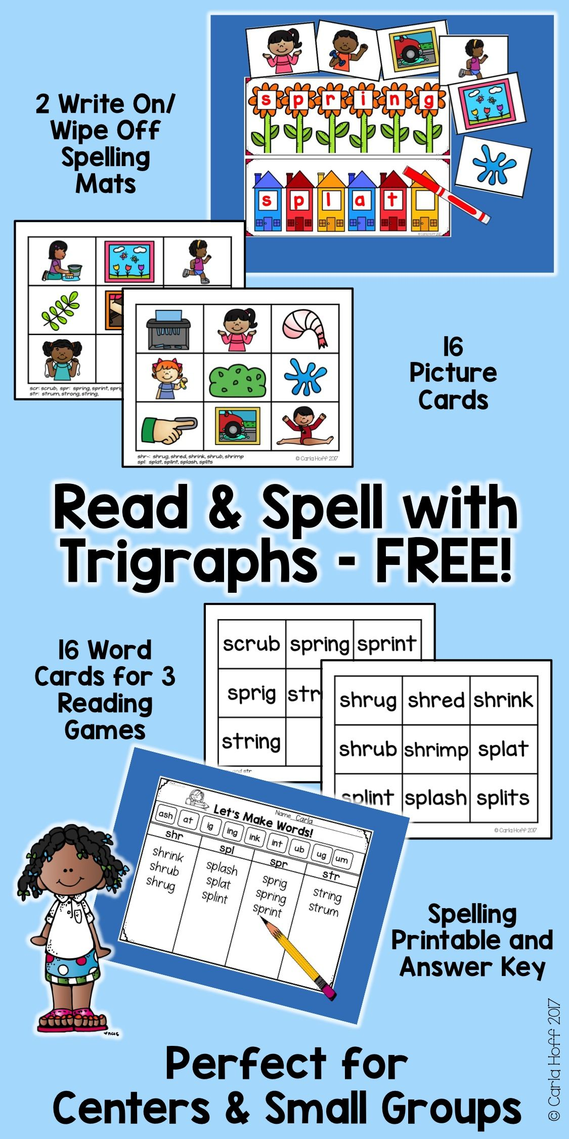 worksheet Consonant Trigraphs Worksheets free center or small group activities for reading and spelling practice with trigraphs