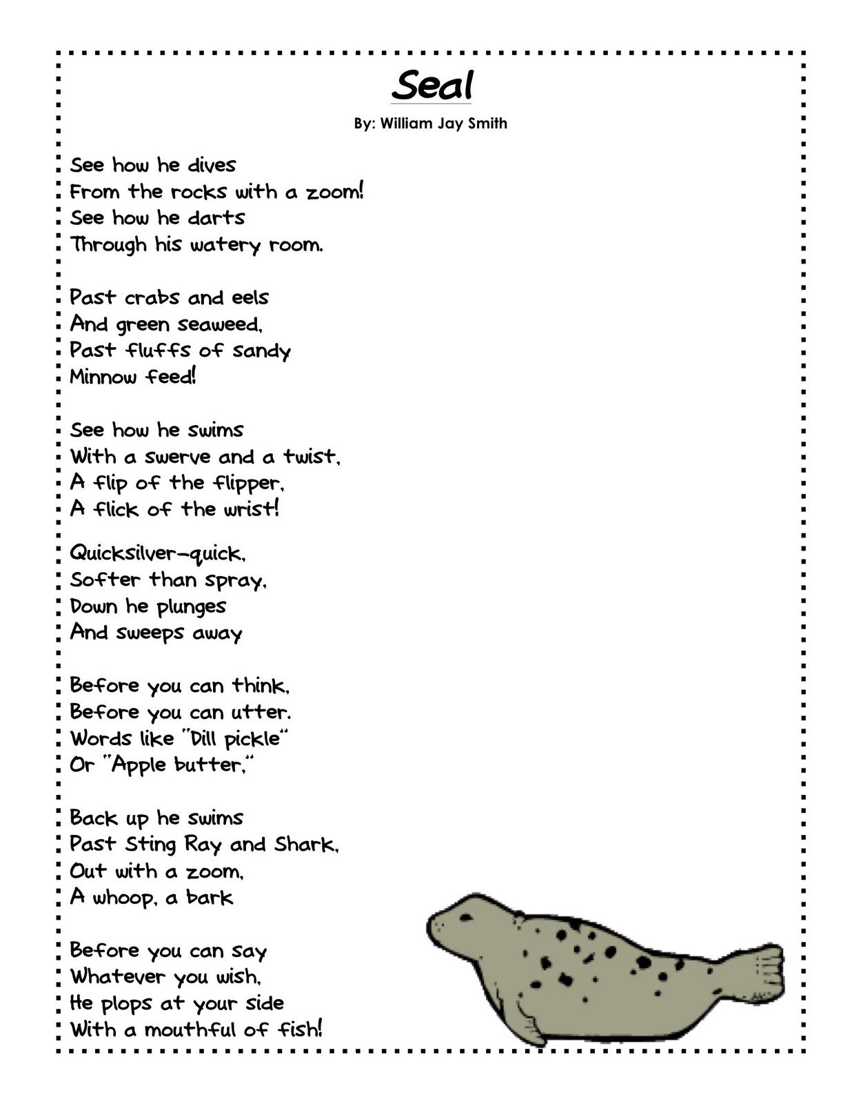 A Harbor Seal Pup Grows Up U2w2 Poem And Activity
