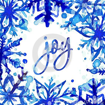 Winter holiday Greeting card. Hand drawn watercolor snowflakes and splashes. Vector illustration.