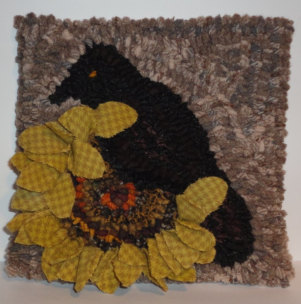 Rug In A Day Primitive Hooking Pattern Sunflower Crow