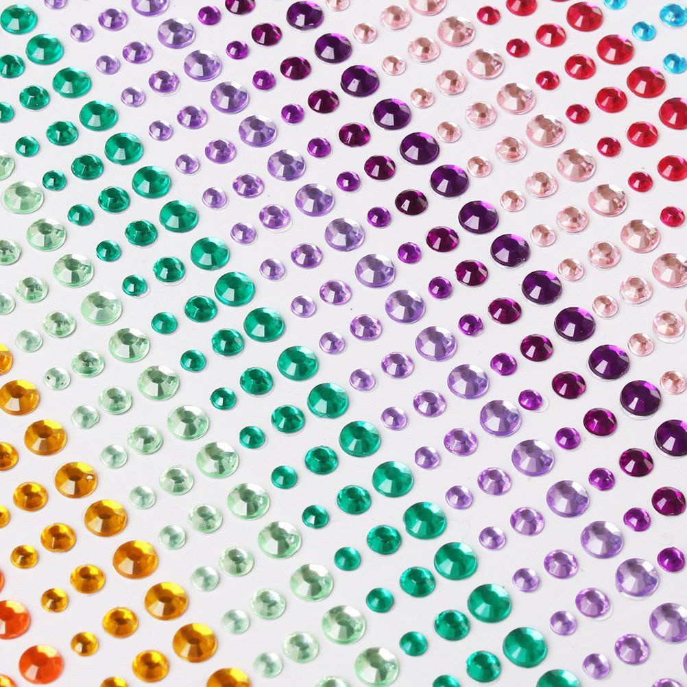 15 Sheets Rhinestone Stickers DIY Crafts Self Adhesive Gem 15 Colors Easy Stick