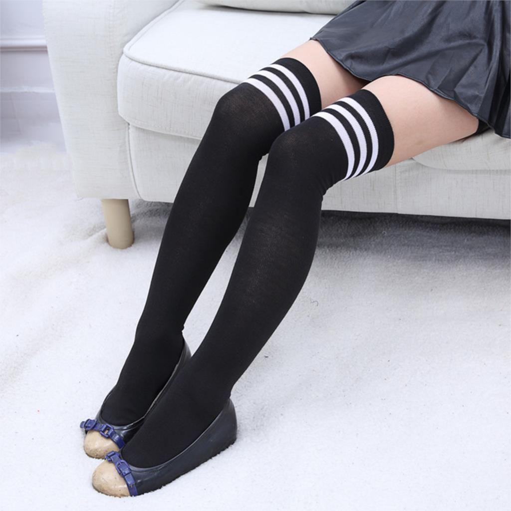 Womens Girls Ladies Stripe Over Knee Thigh High Stockings Cotton Long Socks US