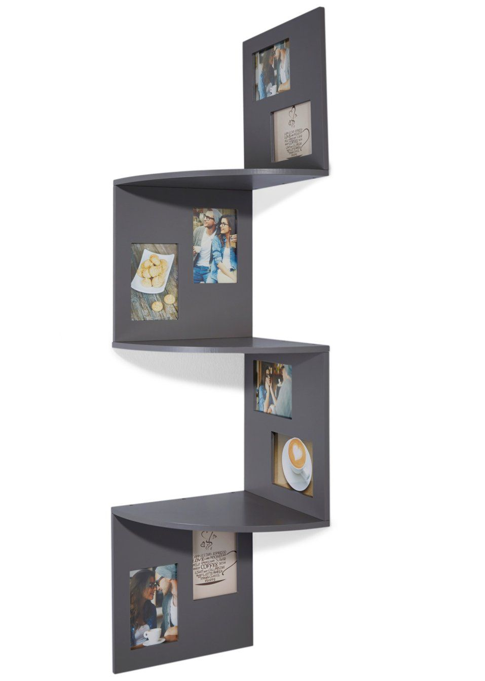 ein dekoratives wohnaccessoire ist das eckregal mit bilderrahmen