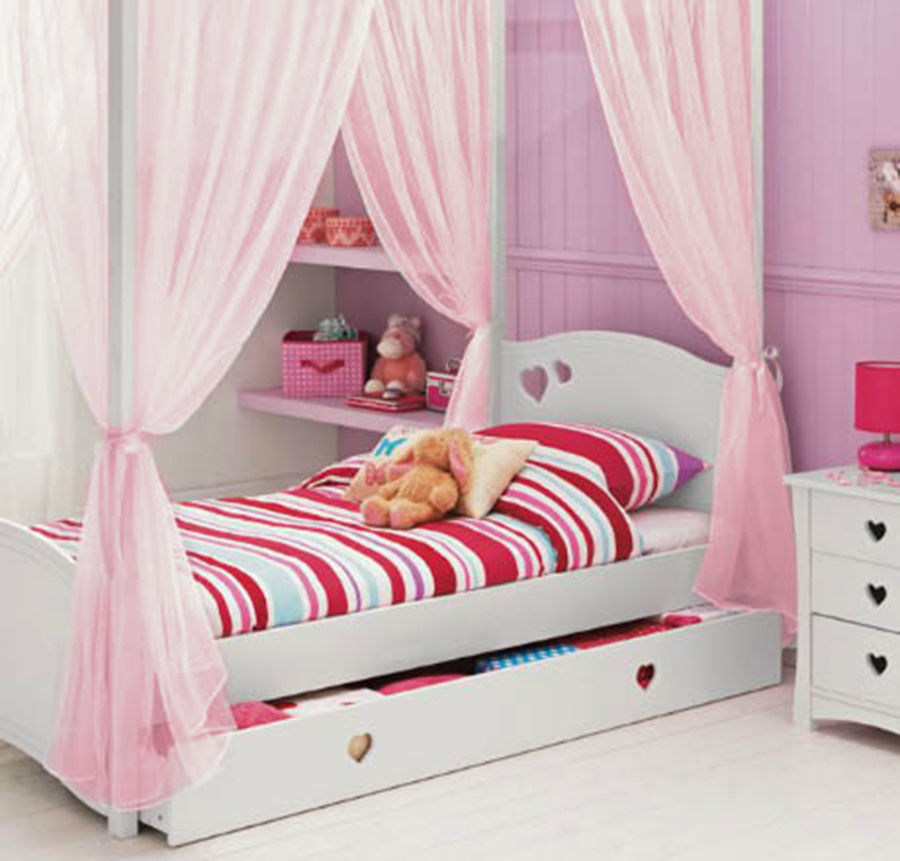 Kids Girls Bed Canopy Curtains Four Poster Drapes White Cream Pink Lilac Voile Girls Bed Canopy Girl Beds Four Poster
