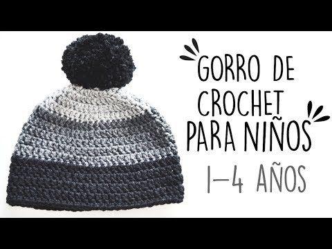GORRO DE CROCHET PARA NIÑOS  416bdea831d