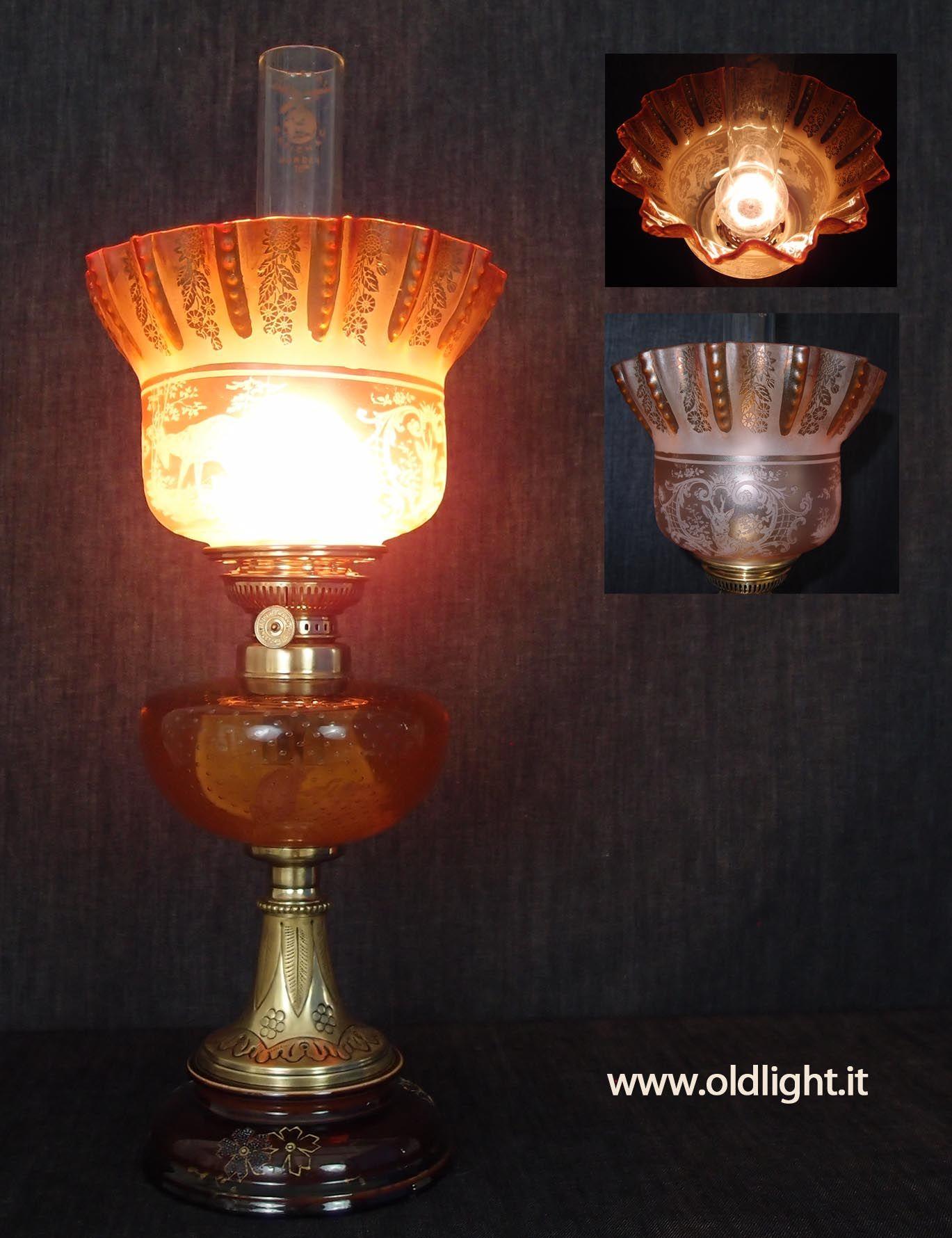 Elegante Lampada Da Tavolo Francese Base In Ceramica E Ottone Sbalzato Serbatoio In Cristallo Color Salmone Con Raffinata Lavoraz Swag Lamp Lamp Oil Lamps