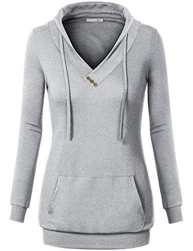 Messic Women's Long Sleeve Cross V Neck Pullover Kangaroo