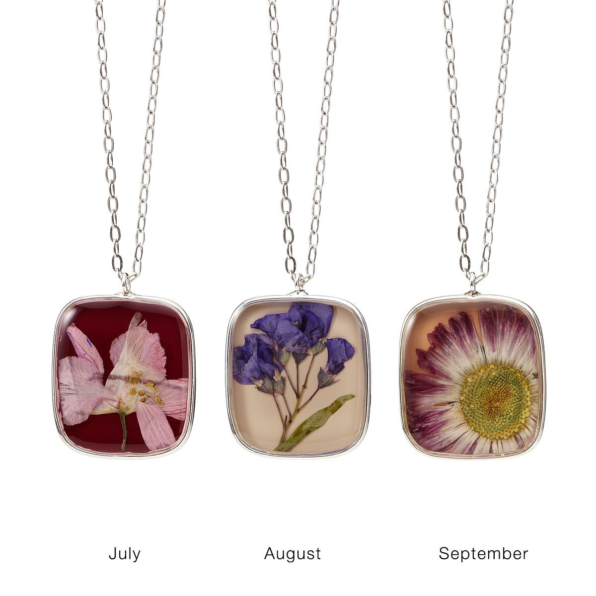Birth Month Flower Necklace Real Flower Pendant Month
