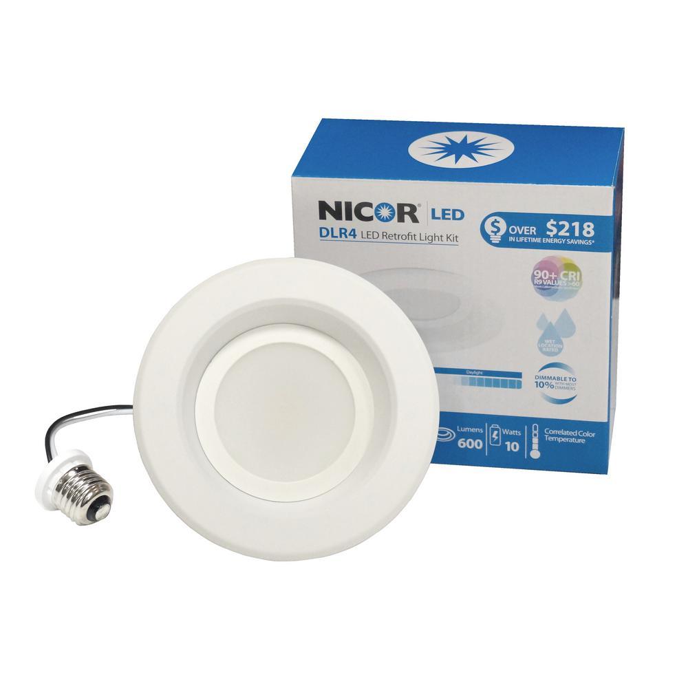 Nicor Dlr Series 4 In White 3000k Integrated Led Retrofit Downlight Recessed Trim Kit 91 Cri Dlr4 3006 120 3k Wh Downlights Retrofit Recessed Lighting Led Recessed Lighting