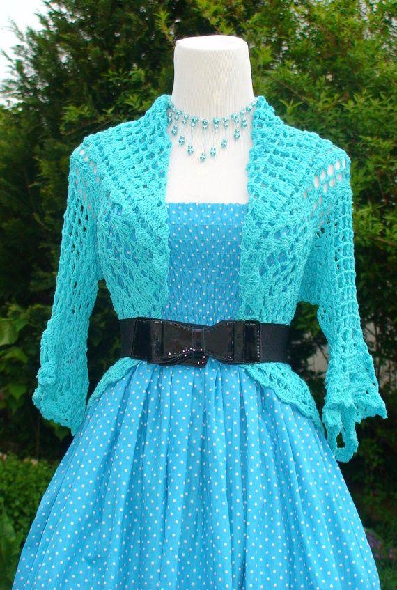 Crochet Bolero Jacket In Blue Turquoise por Darmianifashion