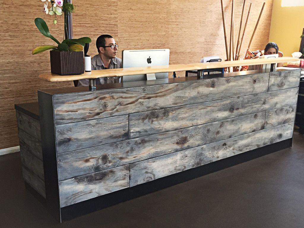 Rustic office lobby google search beau fam chiro for Unique desks for sale