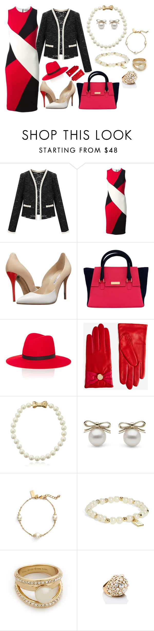 """""""Untitled #873"""" by theranna on Polyvore featuring FAUSTO PUGLISI, Oscar de la Renta, Janessa Leone, Ted Baker, Kate Spade, chic, lace, fashionblogger and pearljewelry"""