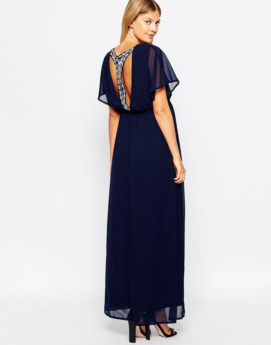 Image 2 ofClub L Maternity Angel Sleeve Embellished Back Maxi Dress