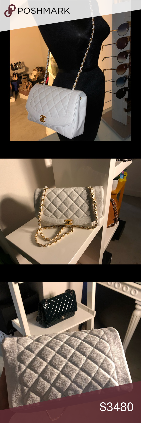 """d0518b872b7438 Auth CHANEL White Caviar """"Diana"""" Single Flap Beautiful 100% Authentic CHANEL  Timeless White"""