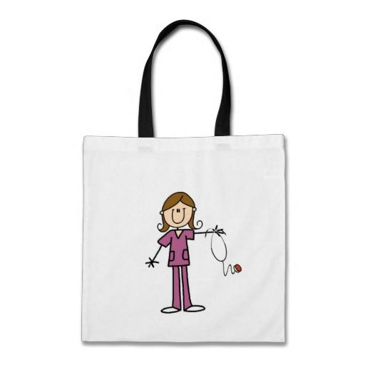 Brown Hair Female Stick Figure Nurse Canvas Bag  #nurse #gifts #rn #tote