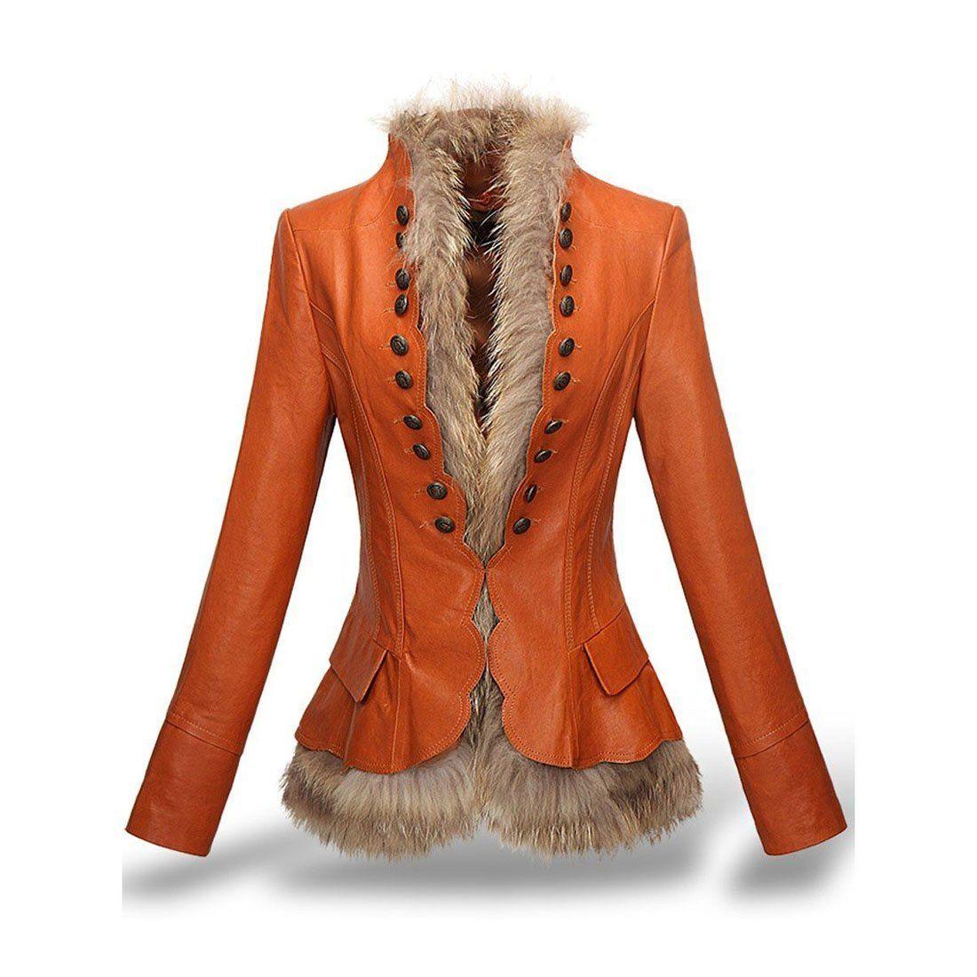Women's Jacket Faux Leather Rivet Slim Thick Fur Liner