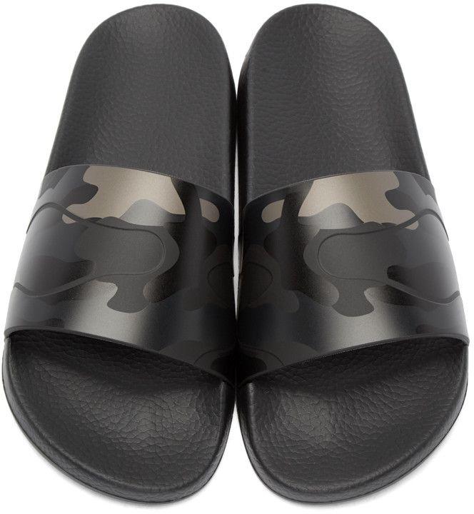 ba33b74582d215 Valentino - Black Camo Slide Sandals