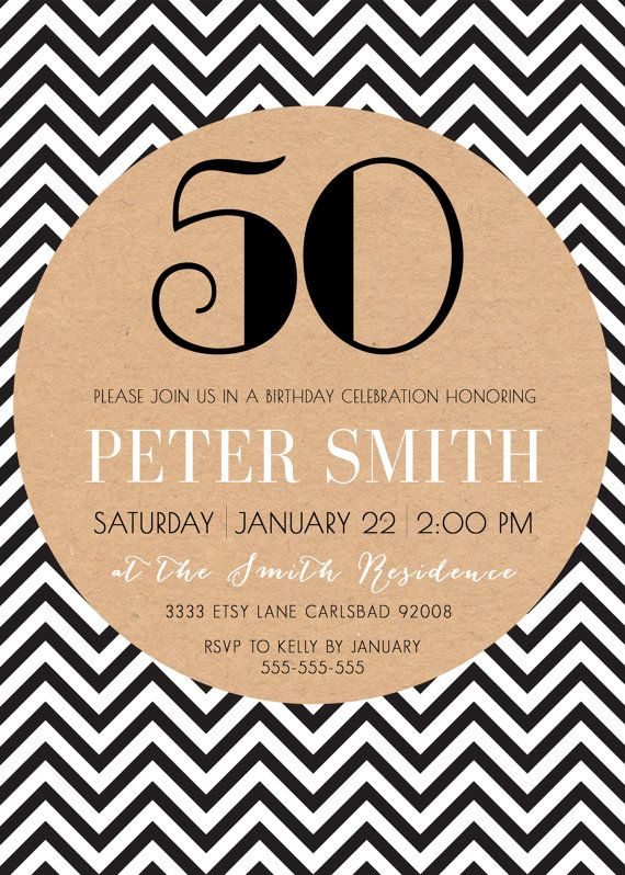Adult Birthday Party Invitation Male Simple Chevron Black And White Printable